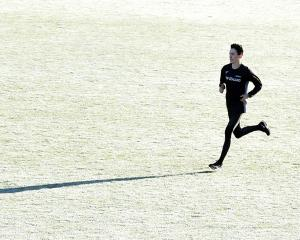 Oli Chignell runs on at the Caledonian Ground yesterday as he prepares to leave for two months of...