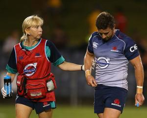 Sharron Flahive walks with Brendan McKibben in a Waratahs preseason match in 2015. Photo: Getty...