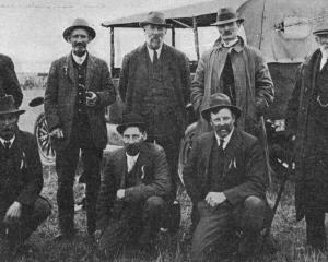 Some old identities of the Strath-Taieri district. Back row (from left): Messrs Donald McRae, A,...
