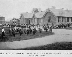 Milton District High and Technical School pupils at physical drill. — Otago Witness, 25.6.1919  ...