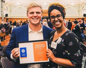 Silverline leaders and University of Otago students Tom Hardy and Amal Abdullahi show the group's...