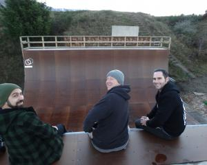 Skateboarders and film-makers (from left) Jo Murdie, Nick Fellows and Wayne Pretty are nervously...