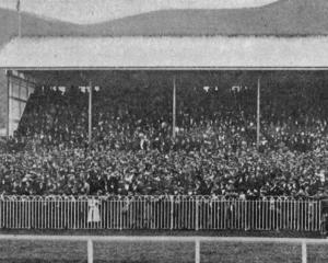 A view of the lawn and grandstand at Wingatui during the Dunedin Jockey Club's winter meeting,...