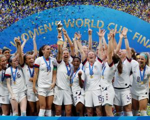 2019 Carli Lloyd of the U.S. and team mates celebrate winning the women's world cup with the...