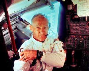 This Nasa file image shows US astronaut Edwin ''Buzz'' Aldrin, one of three Apollo 11 crew...