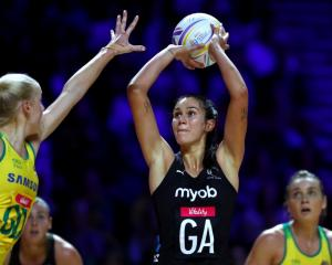 Ameliaranne Ekenasio shoots during the Silver Ferns' World Cup final win over Australia in...