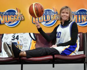 Otago Nuggets franchise spokeswoman Angela Ruske celebrates at the Edgar Centre yesterday after...