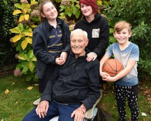 New Basketball Otago life member Lance Pearson alongside (from left) granddaughter Tilly (12),...