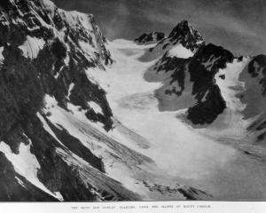 The Maud and Godley Glaciers from the slopes of Mt Gordon. — Otago Witness, 9.7.1919.   COPIES OF...