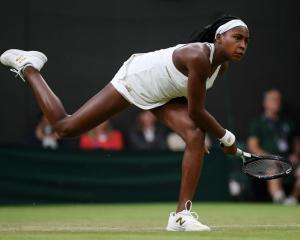 Cori Gauff plays a shot during her second round win at Wimbledon this morning. Photo: Getty Images