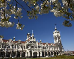 Dunedin Railway Station in springtime. Photo: Getty Images