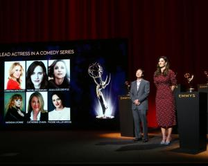 Ken Jeong and D'Arcy Carden attend the announce the nominees for the Emmy for best lead actress...