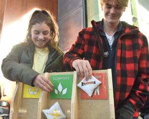 Health science students Diana Barbu (18), of Ashburton, and Harrison Groom (19), of Wellington,...