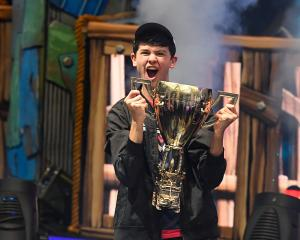 Kyle Giersdorf  celebrates his win as the first solo World Champion at the Fortnite World Cup...
