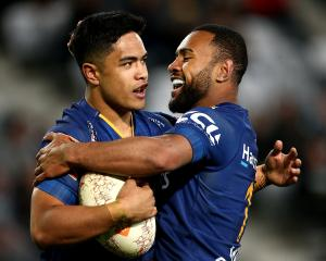 Josh Ioane is congratulated by Jona Nareki during the Mitre 10 Cup last season. Photo: Getty Images