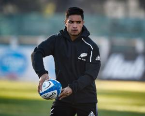 Josh Ioane in action at an All Blacks training session in Buenos Aires before the match against...