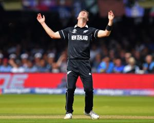 Black Caps fast bowler Matt Henry reacts to a missed opportunity during the Cricket World Cup...