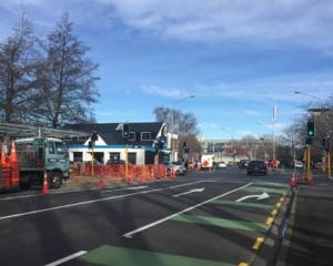 Kerb work under way at the Cumberland St/Albany St intersection. Photo: NZTA