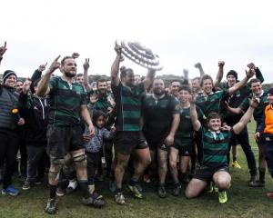 Robbie Smith holds the Citizens Shield aloft after Maheno beat Old Boys 18-7 at Whitestone...