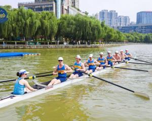 Otago University men's eight rowing team (from left) coxswain Lauren Gibbs, stroke Kyle Hughes,...