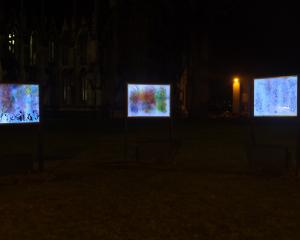 Motoko Kikkawa's installation in front of the First Church from the Nocturnal Projections and...