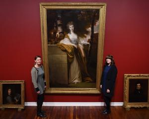 Dunedin Public Art Gallery curators Lucy Hammonds and Lauren Gutsell pictured with one of the...