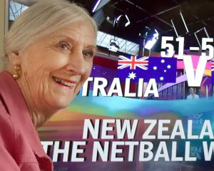 Dame Lois Muir was a happy viewer yesterday as the Silver Ferns won the World Cup. PHOTO: PETER...