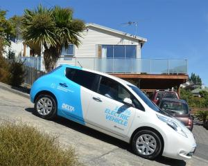 ODT reporter Damian George drives a 2014 Nissan Leaf electric vehicle down Baldwin St, Dunedin....
