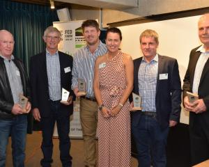 Winners at the Federated Farmers Arable Industry Group 2019 Awards (from left) Peter Kelly, Jim...