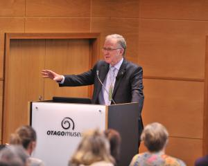 Mental health inquiry chairman Ron Paterson, giving the University of Otago public health lecture...
