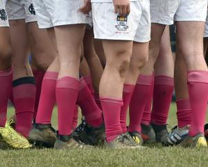The Otago Boys' players in their pink socks.