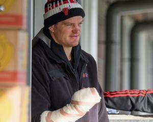 Lock Scott Barrett suffered a fractured metacarpal at the base of his index finger  Photo: Getty...