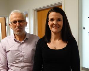 Newly-appointed Alzheimer's Otago manager Liz Harburg is supported by board chairman Maurice...
