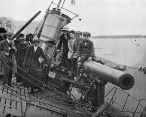 This surrendered German submarine at Hastings, England, is proving a great attraction for holiday...