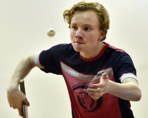 Rafe Fleming (17), of Christchurch, plays a shot during the Otago Open table tennis tournament at...