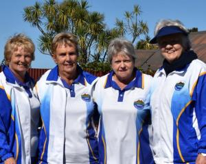 The winning Taieri women's bowls team of (from left) Beth Brown, Lorraine Turnbull, Jan Barclay...