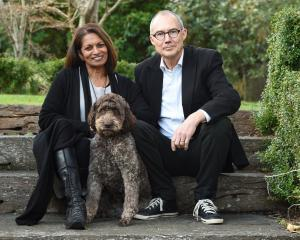 Truffle producers Mirani and Rod Keillor at home in Dunedin with their truffle dog, Rissa. Photo:...