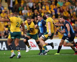 Lukhan Salakaia-Loto of the Wallabies runs the ball during the 2019 Rugby Championship Test Match...