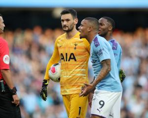 Manchester City's Gabriel Jesus remonstrates with referee Michael Oliver after a goal was...