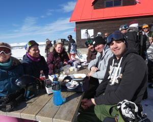 Soaking up the sun at Cardrona are (from left) Alana Martin, Anna Hoyles, Jade Harrop, Liam James...
