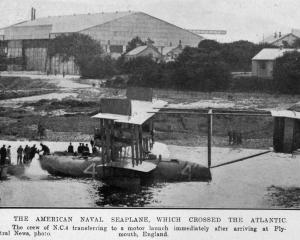 The American naval seaplane N.C. 4, which crossed the Atlantic, after its arrival at Plymouth,...