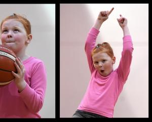 Rosalind Dunn (7) makes a shot at the Girls Got Game programme at the Edgar Centre on Wednesday....