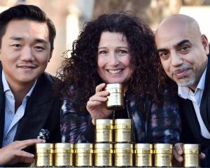 Manuka honey-based cosmetic company Bee yu co-owners Andre Shi (left), Sally Richards and Jeevan...