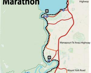 Fiordland Tails Trust Map of Half Marathon course.   Supplied