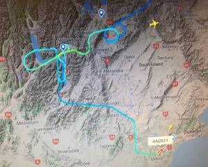 A flight tracker shows the route the plane took before landing in Dunedin.