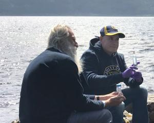 University of Otago researcher Professor Neil Gemmell, right, with Adrian Shine of the Loch Ness...