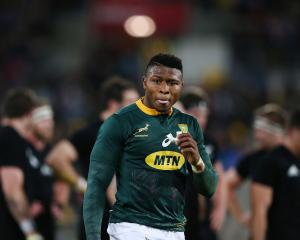 Springboks winger Aphiwe Dyantyi, pictured here during last year's win over the All Blacks in...