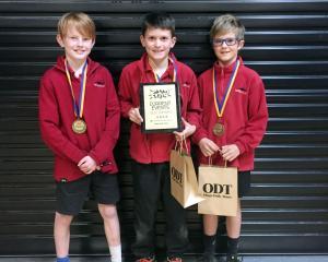 Year 5 and 6 Tai Tapu champions Ethan Garrett-Burke (9), Edward Bull (10) and Caleb O'Leary (10)....