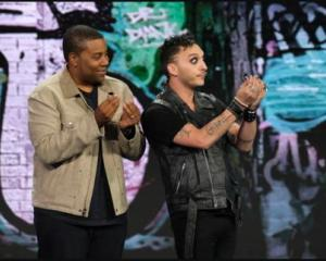 Kiwi Jarred Fell (right) performing on NBC's comedy competition 'Bring the Funny' where he will...