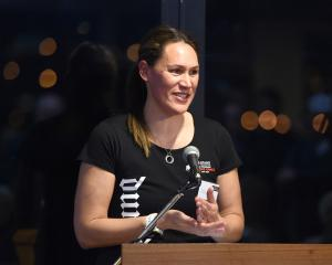 Former Silver Fern Jodi Brown, an ambassador for the Masters Games, speaks at the launch of the...